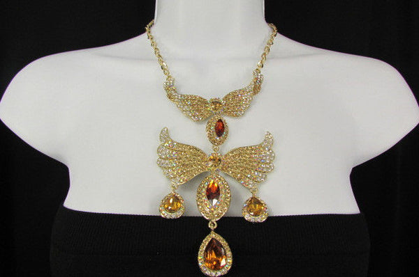 Metal Flying Wings Gold Silver Rhinestones Necklace + Earrings set New Women Fashion - alwaystyle4you - 28