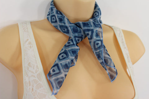 Green Blue Small Neck Scarf Fabric Geometric Square Print Pocket Square New Women Fashion - alwaystyle4you - 1