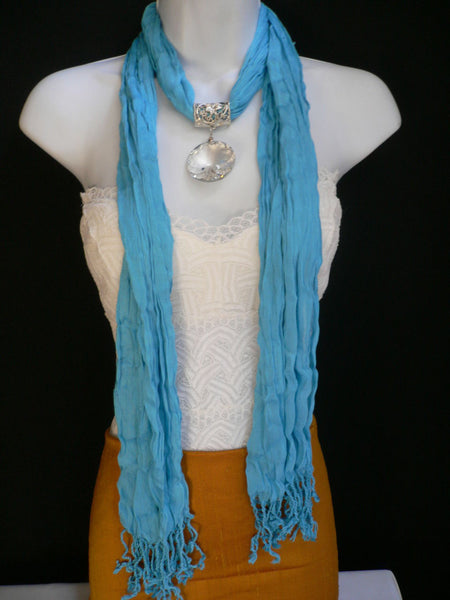 Light Blue Necklac Scarf Big Silver Crystal Flower Pendant Glass New Women Fashion - alwaystyle4you - 4