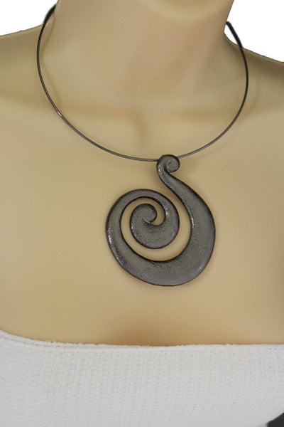 Silver / Pewter Black Choker Thin Metal Snail Spin Swirl Charm Necklace + Earrings Set New Women Fashion Jewelry - alwaystyle4you - 24