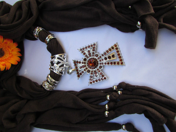 New Women Soft Fabric Dark Brown / Pink Scarf Necklace Western Rhinestones Cross Pendant - alwaystyle4you - 24