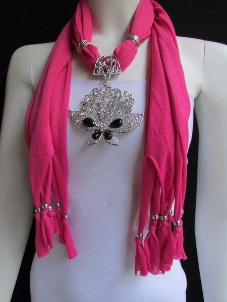 Black Blue Purple Pink Brown Dark Gray Red Bright Coral Green Soft Fabric Scarf Necklace Silver Flowers Butterfly Pendant New Fashion Accessory - alwaystyle4you - 24