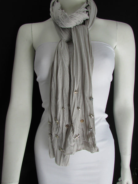 New Women Soft Fabric Fashion White / Blue /  Gray / Black Scarf Long Necklace Silver Metal Stars Studs - alwaystyle4you - 36