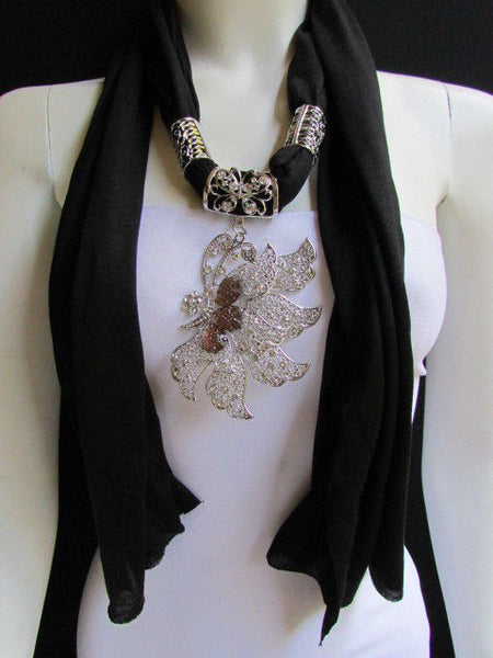 Pink Blue Black Brown Bright Coral Soft Fabric Scarf Long Necklace Big Silver Butterfly Pendant New Women Fashion - alwaystyle4you - 25