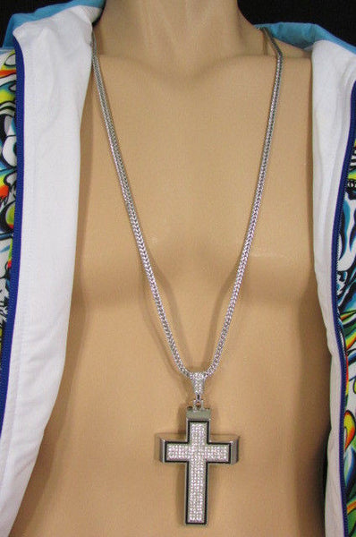 Pewter / Silver Metal Chains Long Necklace Boarded Cross Pendant New Men Hip Hop Fashion - alwaystyle4you - 29