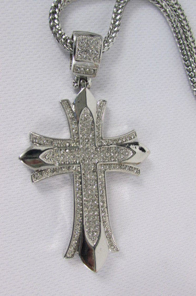 "Silver / Gold Metal Chain 35"" Long Fashion Necklace  Large Cross Pendant New Men - alwaystyle4you - 31"