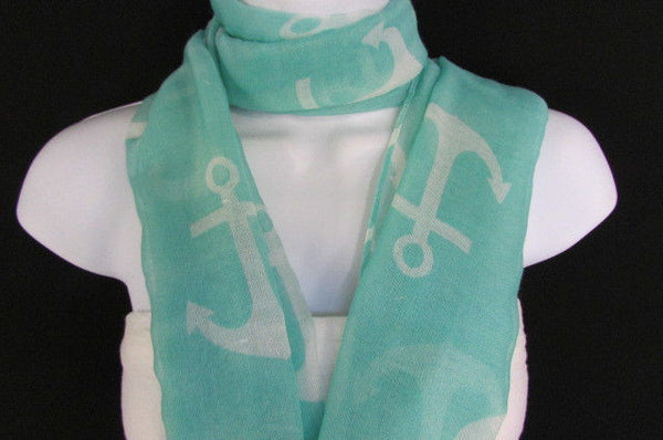 Green Aqua Pink Black White New Women Fashion Fabric Infinity Loop Scarf Big Anchor - alwaystyle4you - 28