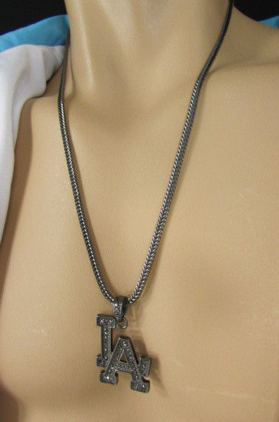"Gold Silver Pewter Metal Chains 25"" Long Necklace Pewter Big LA Pendant New Men Fashion - alwaystyle4you - 9"