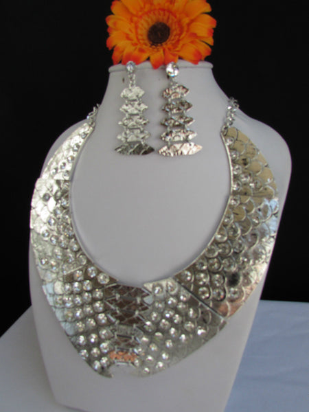Gold /  Silver Metal Plates Snake Skin Rhinestones Necklace + Earrings Set New Women Fashion - alwaystyle4you - 24