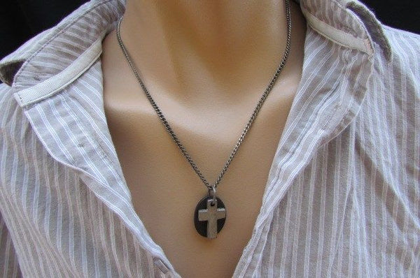 Rusty Silver / Silver Fashion Necklace Chunky Thick Chain Links Cross Pendant Back Oval Platefashion necklace pendant - alwaystyle4you - 25