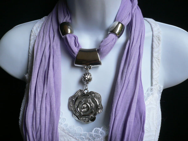 Gray / Red / L. Purple / L. Blue New Women Necklace Scarf Moroccan Fashion Soft Fabric Long Silver Flower Pendant Charm - alwaystyle4you - 25