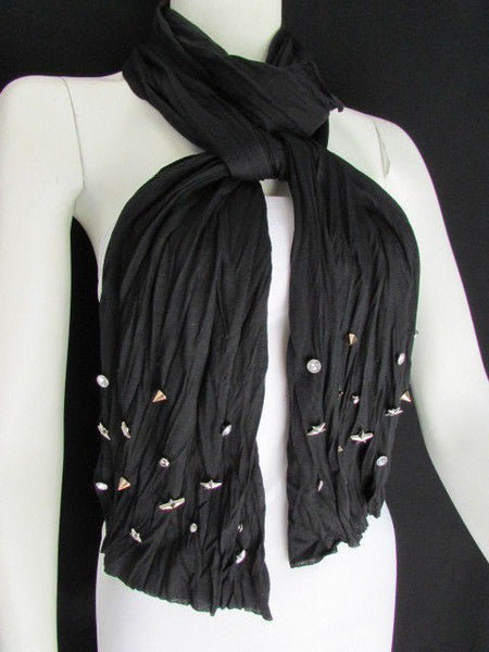 New Women Soft Fabric Fashion White / Blue /  Gray / Black Scarf Long Necklace Silver Metal Stars Studs - alwaystyle4you - 37