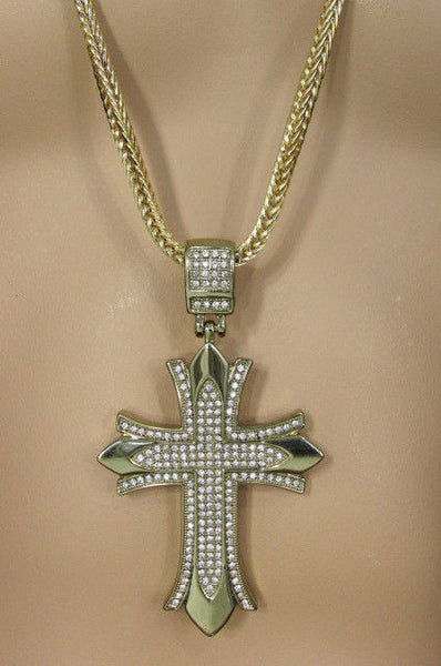 "Silver / Gold Metal Chain 35"" Long Fashion Necklace  Large Cross Pendant New Men - alwaystyle4you - 32"