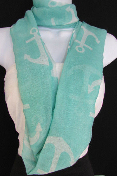 Green Aqua Pink Black White New Women Fashion Fabric Infinity Loop Scarf Big Anchor - alwaystyle4you - 29