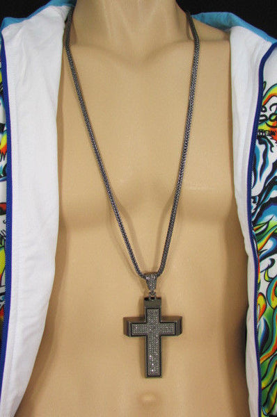 Pewter / Silver Metal Chains Long Necklace Boarded Cross Pendant New Men Hip Hop Fashion - alwaystyle4you - 30