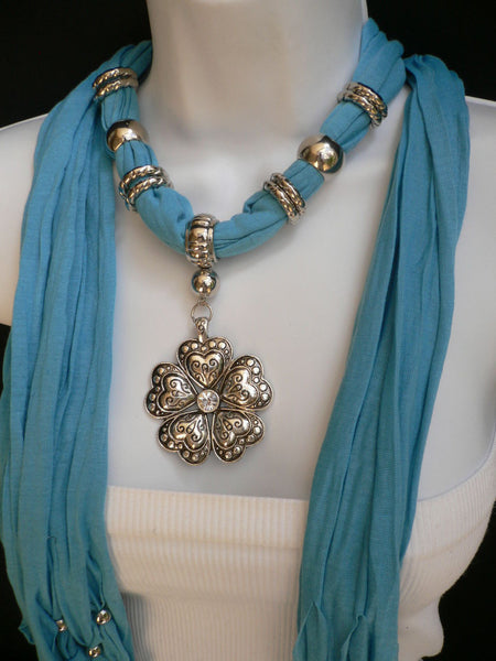Blue Light Blue Black Dark Brown Light Pink Coral White Soft Scarf Necklace Heart Flower Silver Pendant New Women Fashion 6 Different Colors - alwaystyle4you - 37