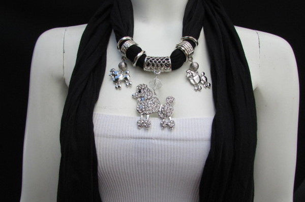 Blue, Black, L. Pink, Pink Fuscia Soft Fabric Scarf Silver Metal Poodle Dog Pendant New Women Fashion - alwaystyle4you - 7