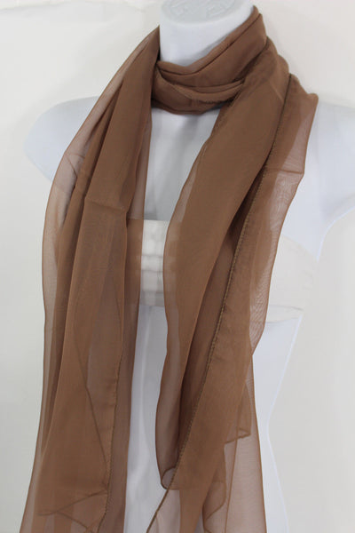 Dark Brown Dark Green Dark Blue Brown Neck Scarf Long Soft Sheer Fabric Tie Wrap Classic New Women Fashion - alwaystyle4you - 25