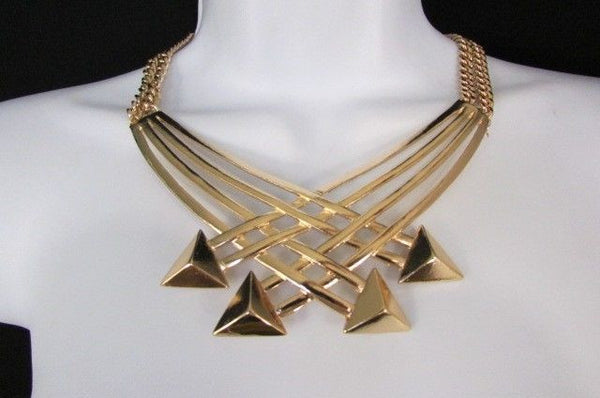 "Gold Silver New Women 14"" Strands Metal Chains Fashion Necklace Arrows + Earring Set - alwaystyle4you - 30"