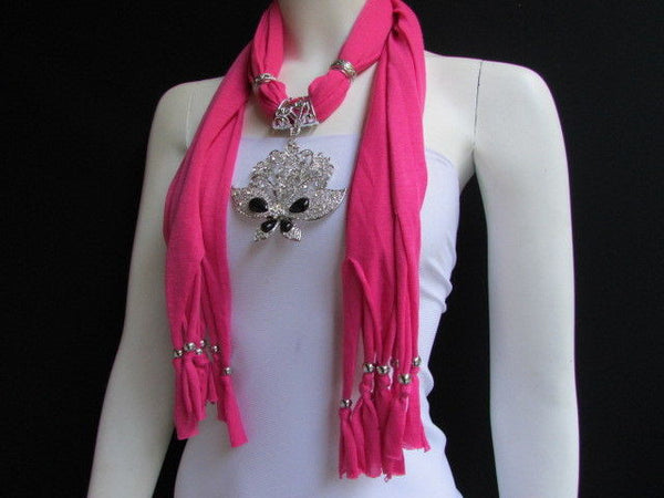 Black Blue Purple Pink Brown Dark Gray Red Bright Coral Green Soft Fabric Scarf Necklace Silver Flowers Butterfly Pendant New Fashion Accessory - alwaystyle4you - 26