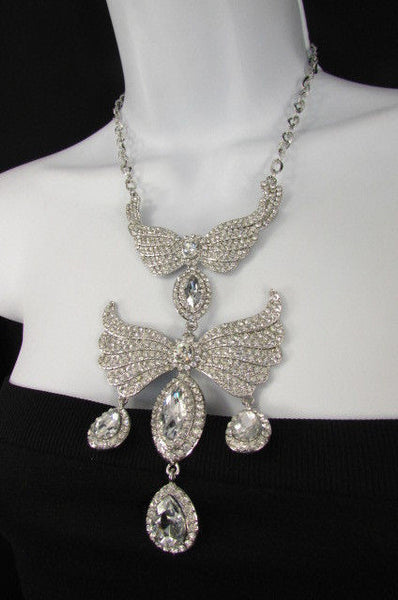 Metal Flying Wings Gold Silver Rhinestones Necklace + Earrings set New Women Fashion - alwaystyle4you - 31