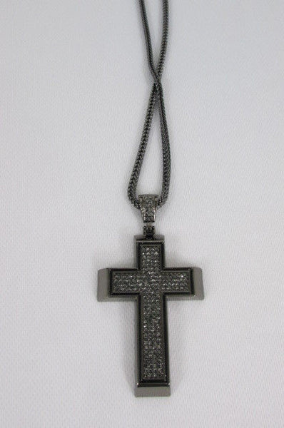 Pewter / Silver Metal Chains Long Necklace Boarded Cross Pendant New Men Hip Hop Fashion - alwaystyle4you - 31