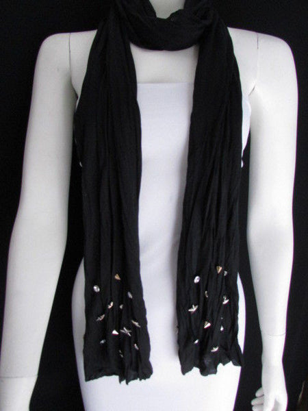 New Women Soft Fabric Fashion White / Blue /  Gray / Black Scarf Long Necklace Silver Metal Stars Studs - alwaystyle4you - 38