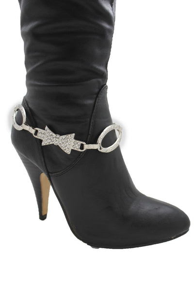Silver Gunmetal / Pewter Metal Boot Chains Bracelet Bow Oval Anklet Bling Shoe Charm New Women Western - alwaystyle4you - 5