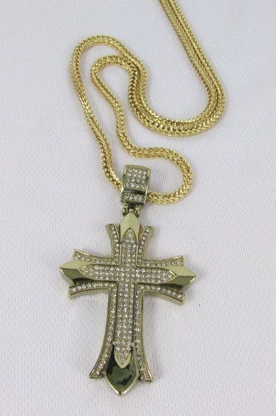 "Silver / Gold Metal Chain 35"" Long Fashion Necklace  Large Cross Pendant New Men - alwaystyle4you - 33"