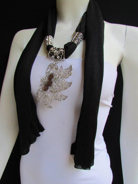 Pink Blue Black Brown Bright Coral Soft Fabric Scarf Long Necklace Big Silver Butterfly Pendant New Women Fashion - alwaystyle4you - 27