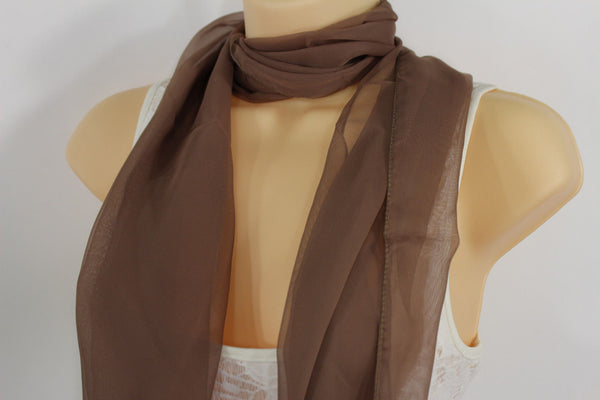 Dark Brown Dark Green Dark Blue Brown Neck Scarf Long Soft Sheer Fabric Tie Wrap Classic New Women Fashion - alwaystyle4you - 26