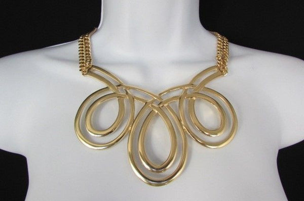 Gold / Silver Twisted 3 Drops Chain Necklace + Earring Set New Women Chunky Fashion - alwaystyle4you - 26