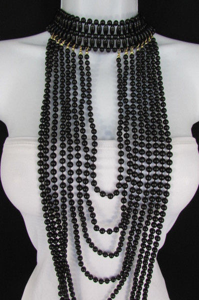 Black / White Metal Beads Extra Long 8 Strands Choker Necklace New Women Fashion - alwaystyle4you - 6