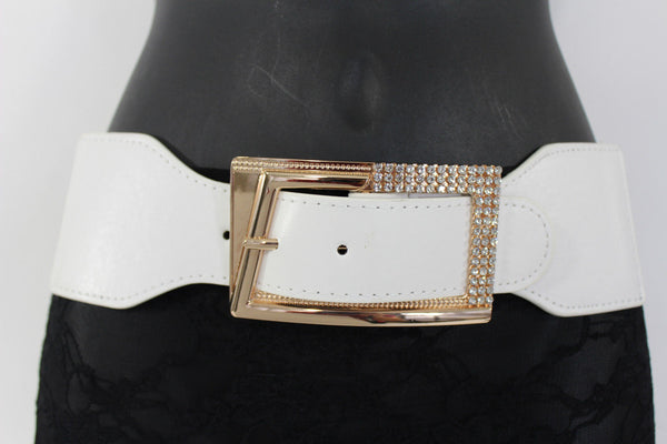 Black / Red / White / Brown Faux Leather Tie Hip Waist Belt Square Gold Rhinestones Buckle New Women Fashion Accessories M L - alwaystyle4you - 24
