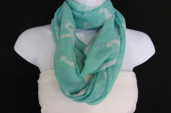 Green Aqua Pink Black White New Women Fashion Fabric Infinity Loop Scarf Big Anchor - alwaystyle4you - 30