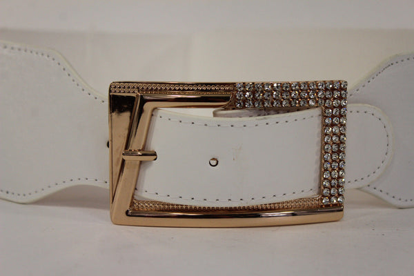 Black / Red / White / Brown Faux Leather Tie Hip Waist Belt Square Gold Rhinestones Buckle New Women Fashion Accessories M L - alwaystyle4you - 25