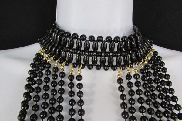 Black / White Metal Beads Extra Long 8 Strands Choker Necklace New Women Fashion - alwaystyle4you - 7