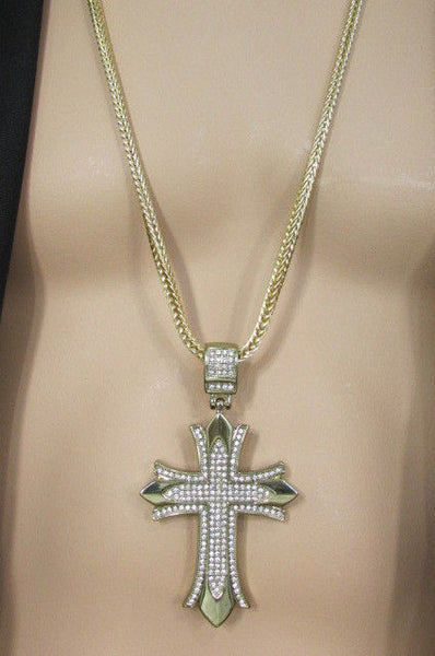 "Silver / Gold Metal Chain 35"" Long Fashion Necklace  Large Cross Pendant New Men - alwaystyle4you - 34"