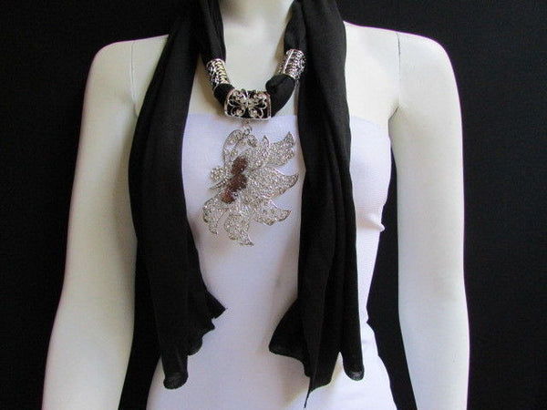 Pink Blue Black Brown Bright Coral Soft Fabric Scarf Long Necklace Big Silver Butterfly Pendant New Women Fashion - alwaystyle4you - 28