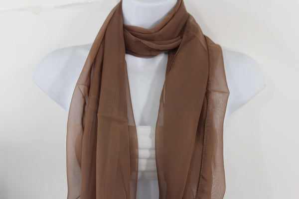 Dark Brown Dark Green Dark Blue Brown Neck Scarf Long Soft Sheer Fabric Tie Wrap Classic New Women Fashion - alwaystyle4you - 27
