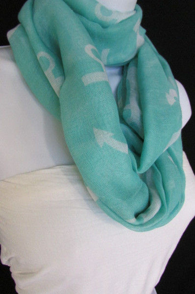 Green Aqua Pink Black White New Women Fashion Fabric Infinity Loop Scarf Big Anchor - alwaystyle4you - 31