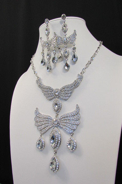 Metal Flying Wings Gold Silver Rhinestones Necklace + Earrings set New Women Fashion - alwaystyle4you - 32