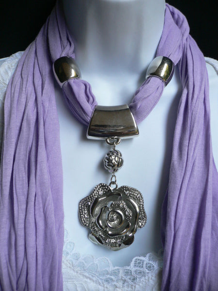 Gray / Red / L. Purple / L. Blue New Women Necklace Scarf Moroccan Fashion Soft Fabric Long Silver Flower Pendant Charm - alwaystyle4you - 27