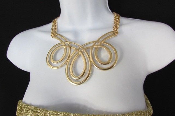 Gold / Silver Twisted 3 Drops Chain Necklace + Earring Set New Women Chunky Fashion - alwaystyle4you - 27