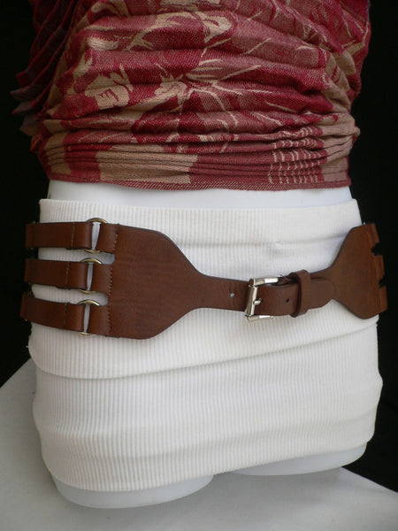 Aqua Blue Taupe Light Brown Black Red Faux Leather Elastic Hip Waist Belt Silver Buckle And Rings Rib Cage Women Fashion Accessories S M - alwaystyle4you - 38