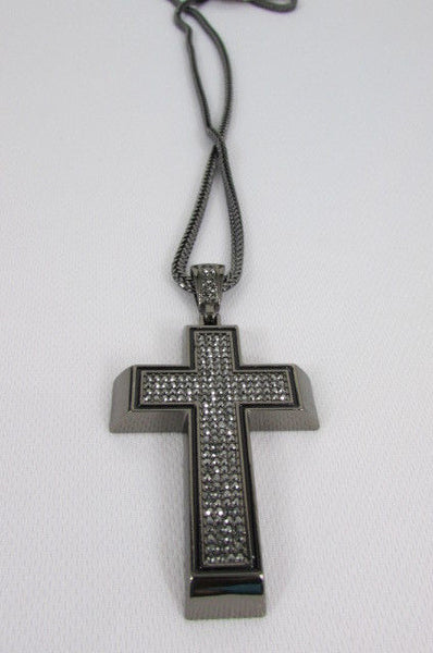 Pewter / Silver Metal Chains Long Necklace Boarded Cross Pendant New Men Hip Hop Fashion - alwaystyle4you - 33
