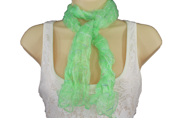New Women Sheer Scarf Fashion Neck Wrap Long White Black Pink Blue Green Yellow - alwaystyle4you - 29