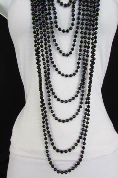 Black / White Metal Beads Extra Long 8 Strands Choker Necklace New Women Fashion - alwaystyle4you - 8