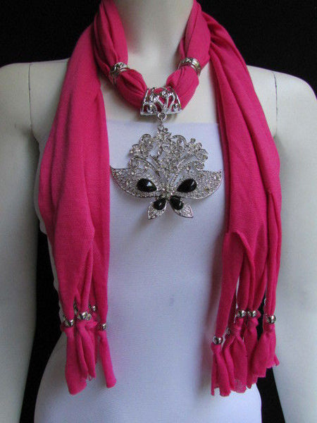 Black Blue Purple Pink Brown Dark Gray Red Bright Coral Green Soft Fabric Scarf Necklace Silver Flowers Butterfly Pendant New Fashion Accessory - alwaystyle4you - 28