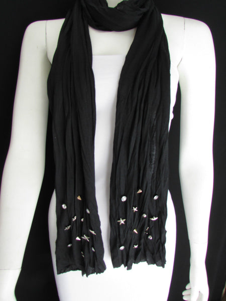 New Women Soft Fabric Fashion White / Blue /  Gray / Black Scarf Long Necklace Silver Metal Stars Studs - alwaystyle4you - 40
